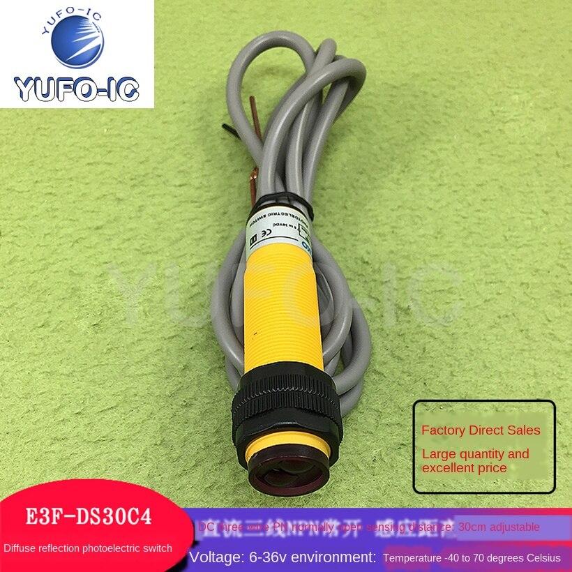 Envío gratis 1 Uds E3F-DS30C4 interruptor de reflexión fotoeléctrico difuso E3F-DS30P1 DC de tres cables PN normalmente abierto/PPS normalmente abierto