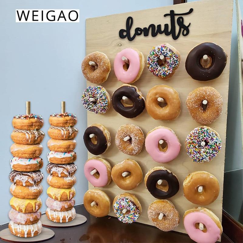 WEIGAO настенная подставка для пончика, украшение для дня рождения, держатель для пончика, вечерние товары, Свадебный декор, стол для детского ...