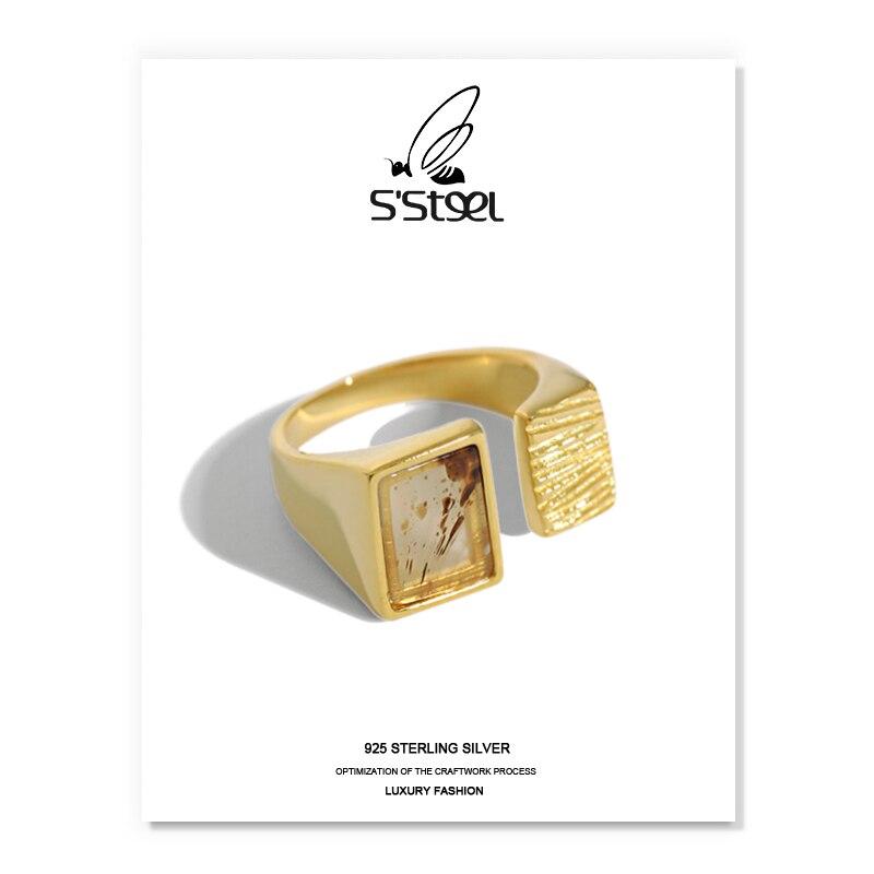 S'STEEL Agate Rings 925 Sterling Silver For Women Korean Luxury Geometric Gold Ring Anillos De Plata