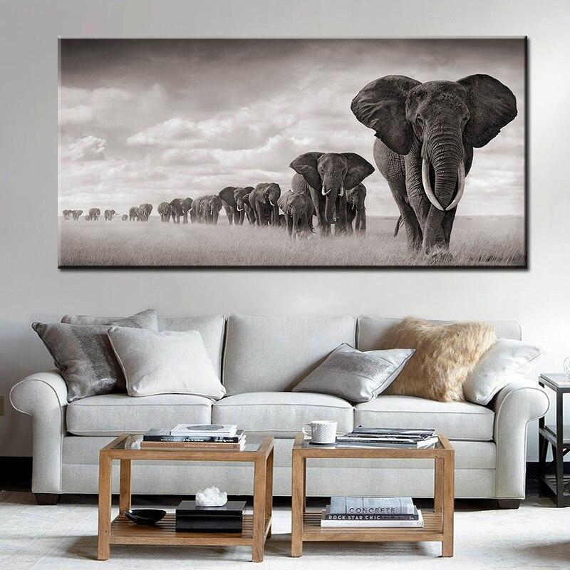 Pintura en lona de animales de África negra, elefantes salvajes, pósteres e impresiones de escandinavos, Cuadros, imágenes artísticas de pared para sala de estar