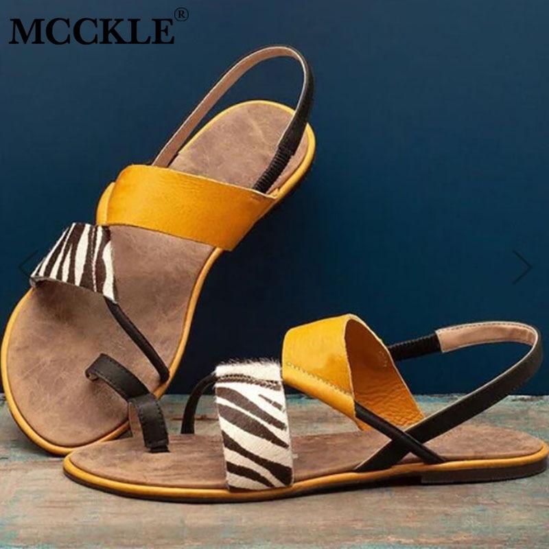 Mulheres clipe toe sandálias de couro macio senhoras zebra deslizamento plano na mulher casual comfortble praia feminino 2020 verão sapatos de moda