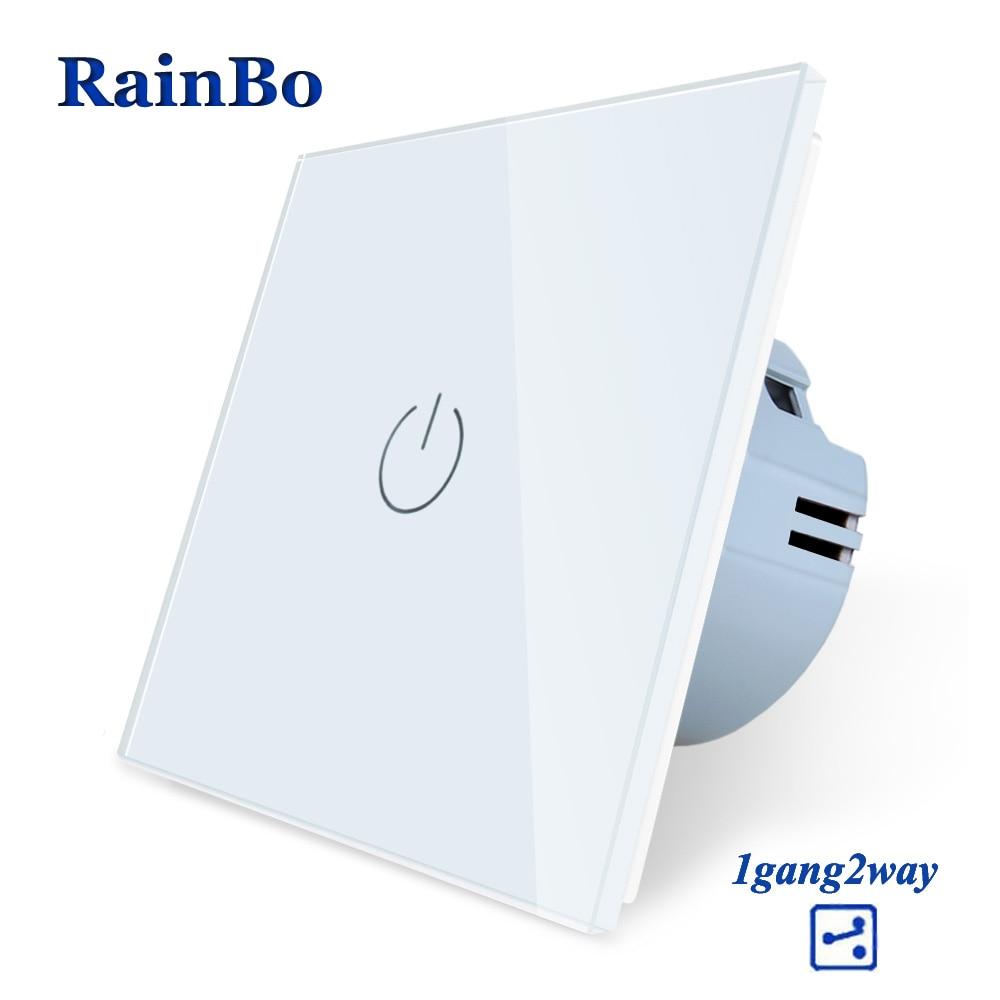 Rainbo marca nuevo cristal panel de cristal interruptor de pared estándar de la UE 110 ~ 250 V pantalla del interruptor de pared 1gang2way A1912CW/B