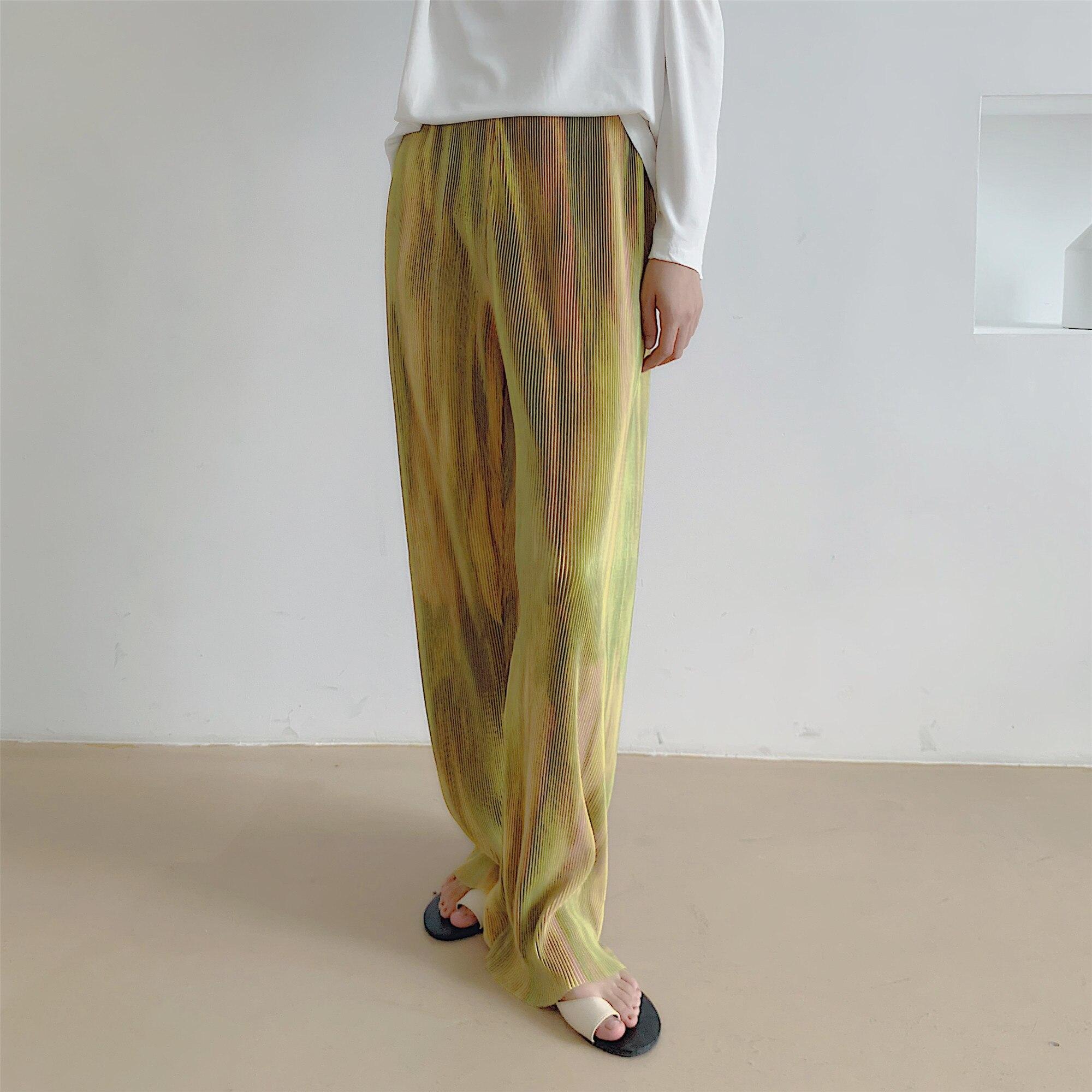HziriP минималистичные прямые широкие брюки женские 2020 новые осенние OL модные свободные брюки с принтом свободные эластичные брюки с высокой ...