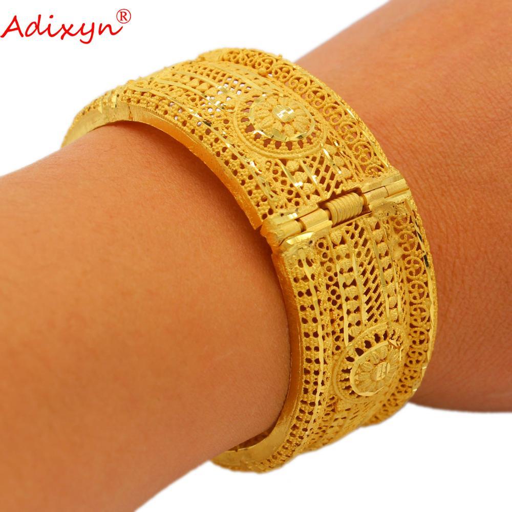 Adixyn الشرف 24k الذهب اللون الإسورة وسوار للنساء الإثيوبية ثوب زفاف إفريقي هدايا الزفاف N12072