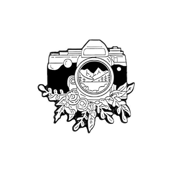 Pintura Ins broche de cámara naturaleza paisaje de bosque flores insignia de aventura creativo fotógrafo regalo marea coreana Pins esmalte