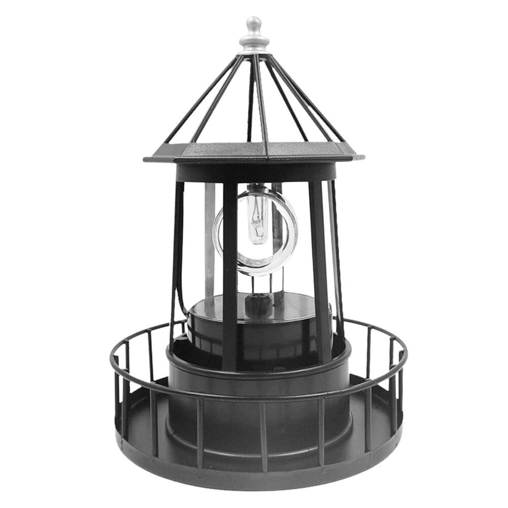 Farol solar conduziu a luz do jardim ao ar livre girando feixe sensor beacon lâmpada para decoração de casa ao ar livre