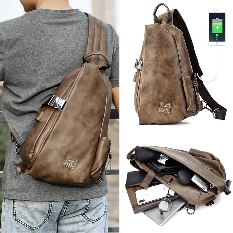 JackKevin-حقائب كتف جلدية متعددة الوظائف للرجال ، حقائب كتف جلدية متعددة الوظائف مع شحن USB ، حقيبة سفر قصيرة مقاومة للماء