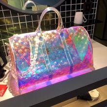Luxury Holographic New Printing Transparent Large-Capacity Sports Handbag High Quality PVC Short-Dis