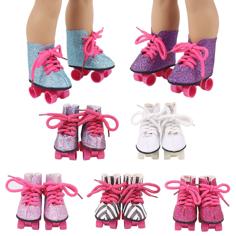 7Cm Doll Baby Skate Shoes Sequins For 43Cm Baby New Born Reborn Zaps Doll&18 Inch American For Our Generation Girl`s Toy Gifts недорого