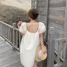 Elegant Backless Pearl Lace-up Sweet Gentle Dress French Style Square Collar Puff Sleeve Dress
