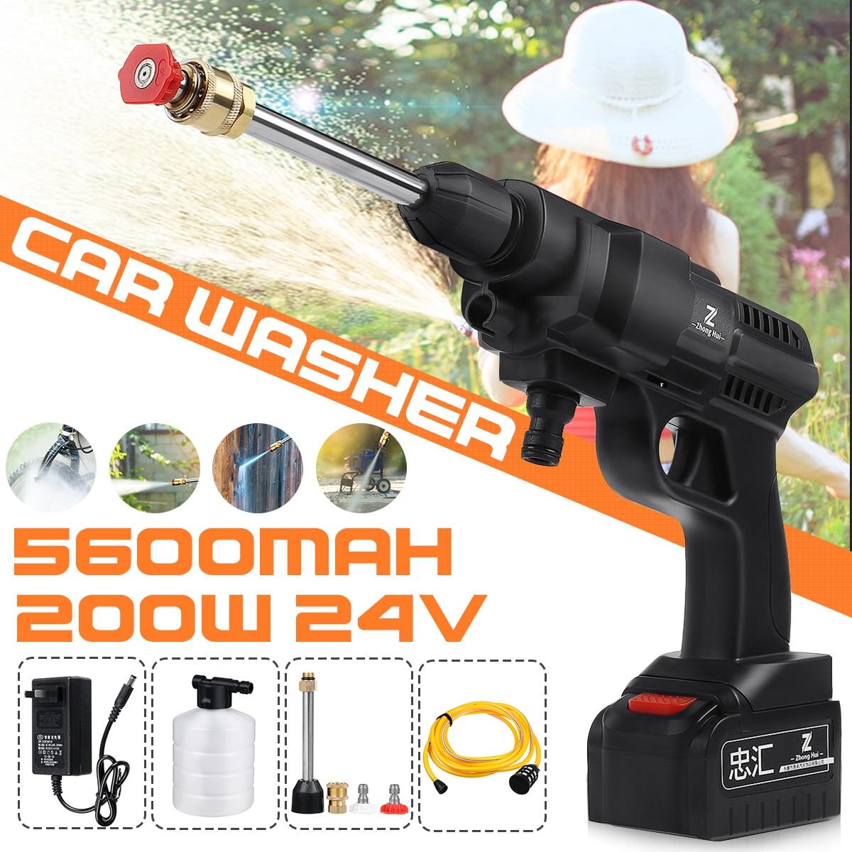 24V 120/156/200W Cordless High Pressure Car Washer Gun Handheld Auto Spray Powerful Car Washer Garden Water Jet 5600mAh Battery