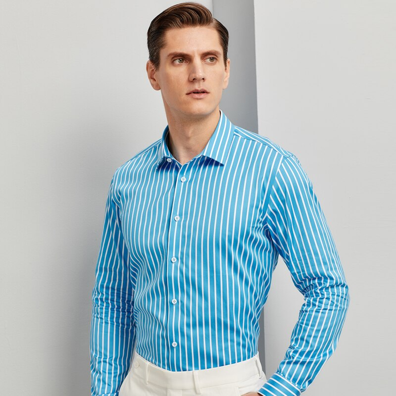 100% Cotton Fashion Color Striped Shirts For Men Long Sleeve Standard-fit Youthful Vitality High-quality Casual Shirt