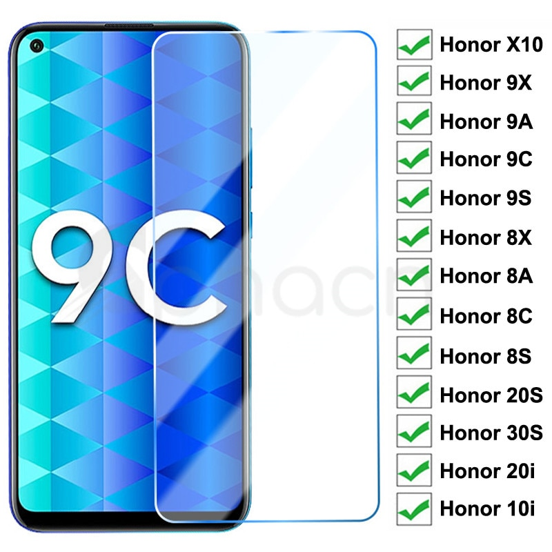 9H Tempered Glass For Huawei Honor 9X 9A 9C 9S 10X Screen Protector Honor 8X 8A 8C 8S 20S 30S 9i 10i
