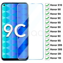 9H Tempered Glass For Huawei Honor 9X 9A 9C 9S 10X Screen Protector Honor 8X 8A 8C 8S 20S 30S 9i 10i 20i Safety Protective Glass