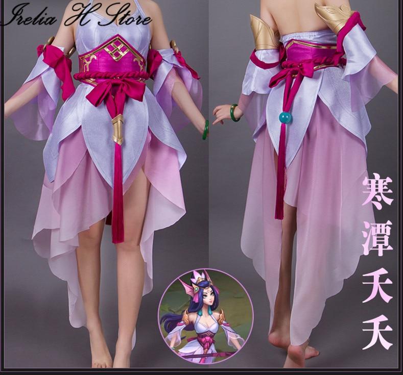LOL رائعة الموظفين نامي تأثيري فستان مُصمم حسب الطلب أنثى الذيل خوذة شعر مستعار هالوين ازياء