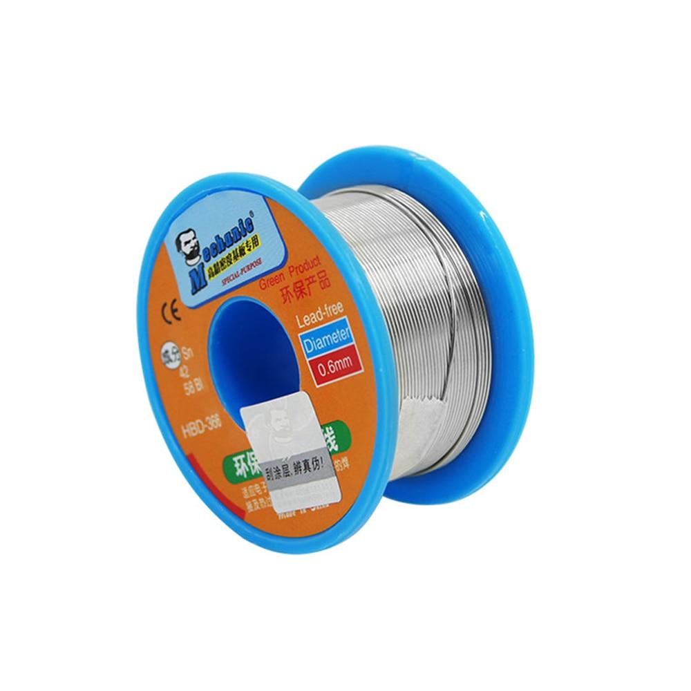 Lead-free solder wire MECHANIC HBD-366 40G 0.3 0.4 0.5 0.6 0.8MM low temperature auxiliary flux solder wire welding Sn42% Bi58%