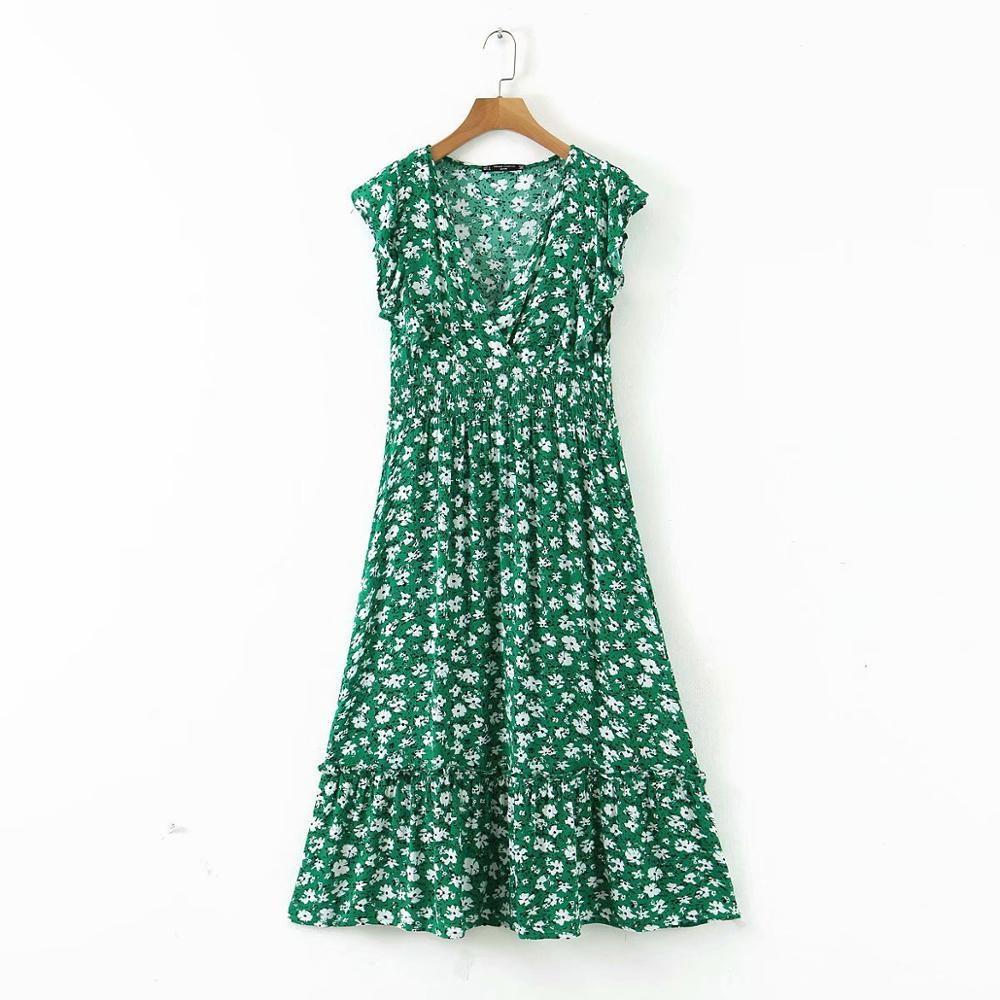 Vestido midi com babados, decote em v e floral, vestido verde escuro elegante, dobrável, chique, para festa de marca, 2020 ds3576