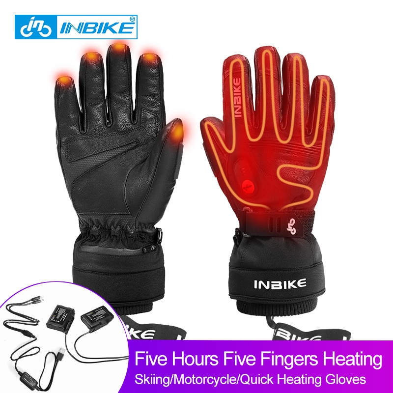 INBIKE Electric Heating Ski Gloves USB Rechargeable Heated Gloves Winter Thermal Snowboard Gloves Waterproof Snowmobile Gloves