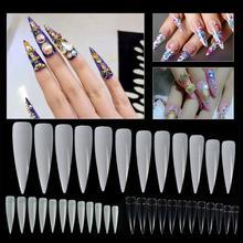 500 pièces longues faux ongles bouts ongles couverture bricolage Salon manucure Art décoration ces faux ongles conseils sont longs et pointus, appliquer.