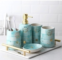 Brush teeth and gargle cup hand-painted ceramic star bathroom five sets of toiletries Set Wedding bathroom supplies