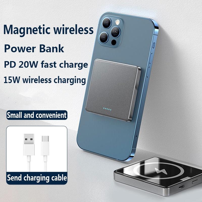 2021 جديد 10000mAh المغناطيسي اللاسلكية المحمولة قوة البنك آيفون 12 13 برو ماكس المحمولة شاحن الهاتف المحمول بطارية خارجية