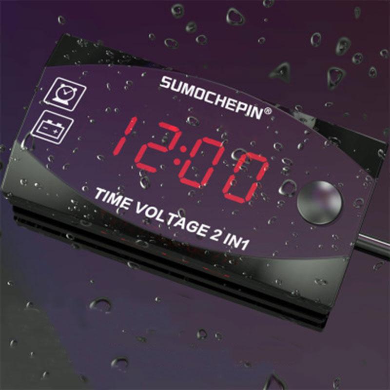 Voltímetro 2 en 1 multifunción para motocicleta, reloj de tiempo con pantalla Digital de vehículo eléctrico, medidor de Panel, temporizador de Fecha