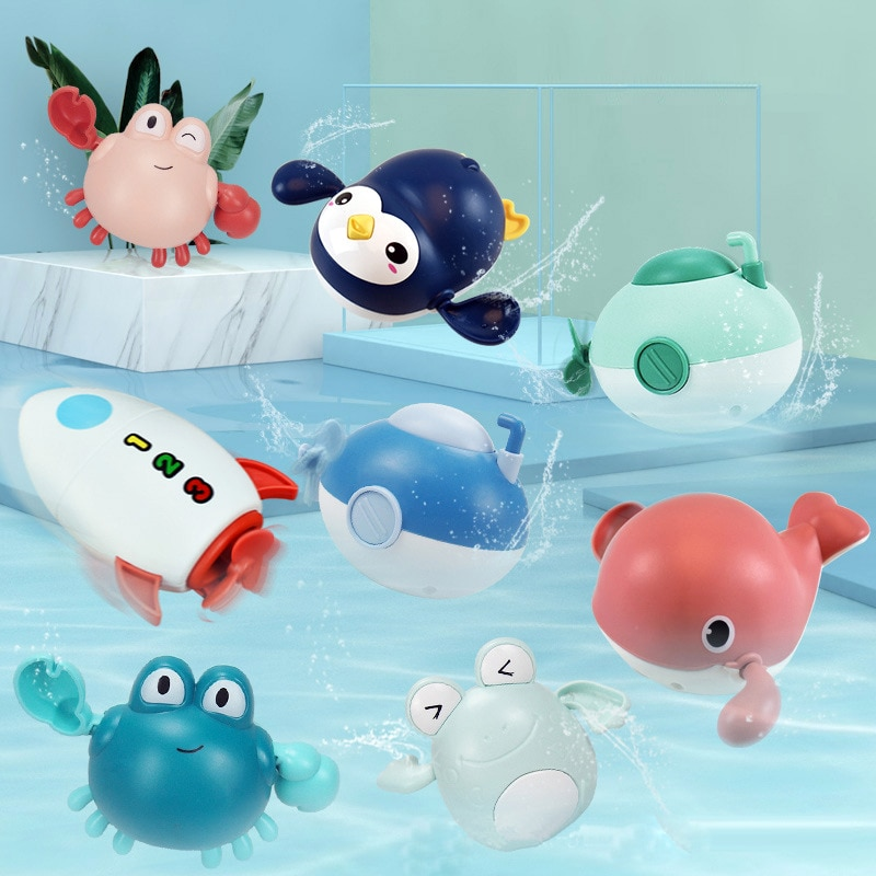 Baby Bath Toys Funny Mixed Random Animals Duck Toddler Water Beach Toys Swimming Pool Toys for Kids Chain Clockwork Kids Toy baby bath toys duck clockwork educational toys swim bathing kids water swimming chain shower toy gift for newborn baby wholesale