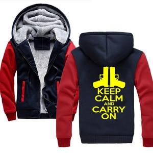 Мужские толстовки с надписью keep calm and carry on, зима 2020, утепленная толстовка с капюшоном и молнией, толстовка с капюшоном в стиле Харадзюку