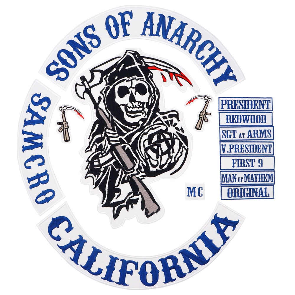 Parche de Anarchy bordado en la espalda para motocicleta, Parche de 36CM...