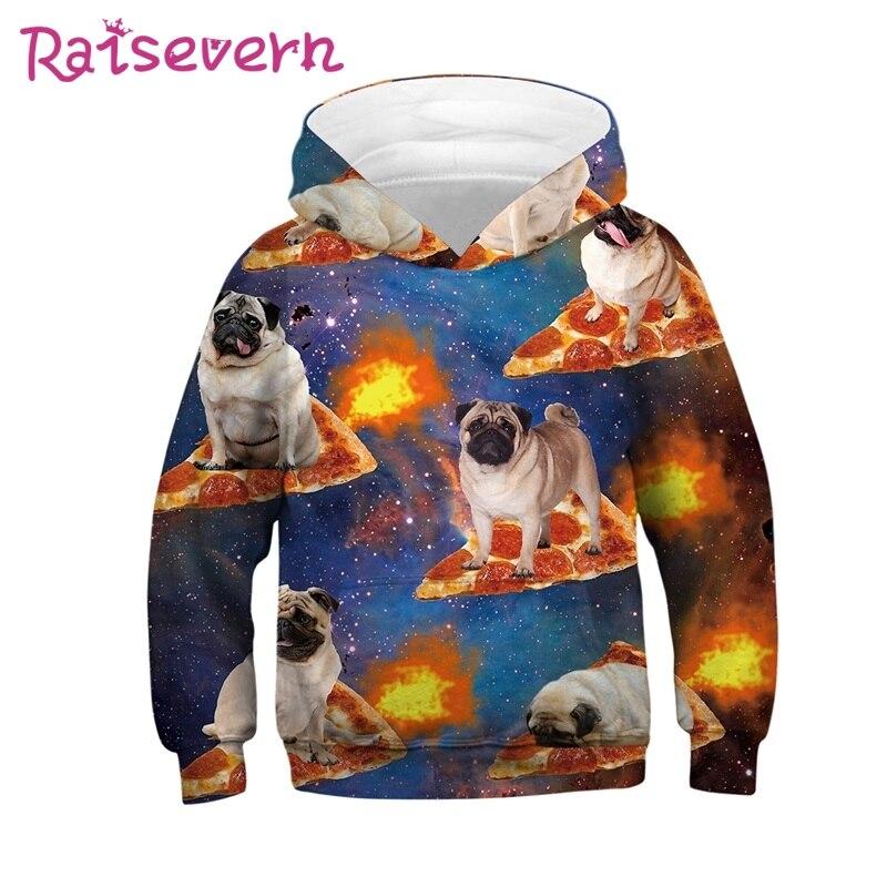 Sudaderas para niños y niñas con diseño de Pizza y perro Pug con estrellas de la galaxia coloridas de Raisevern, sudaderas para niños y niñas a la moda en 3D, jerséis para niños