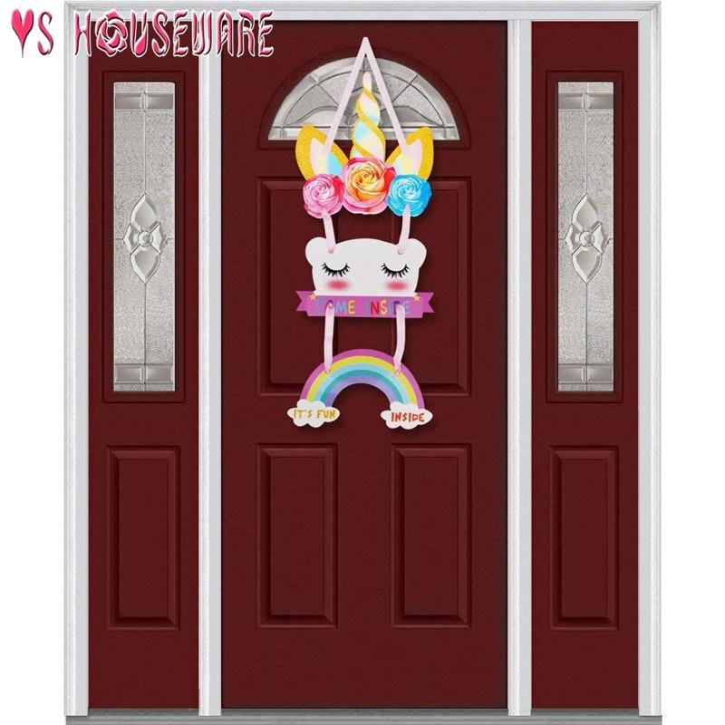 Единорог вечерние Подвесные Украшения для дня рождения, детские двери для душа, подвесные украшения для детской спальни с изображением единорога