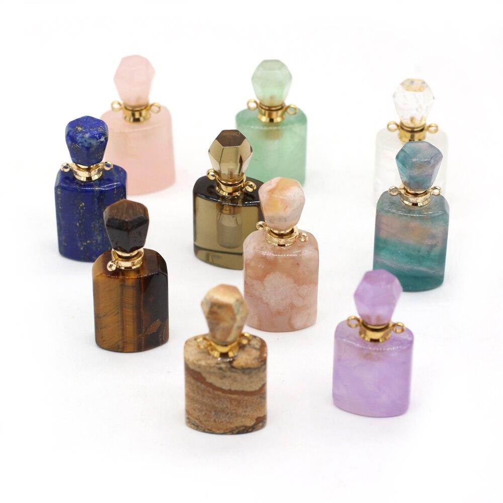 Pingentes de garrafa de perfume olho de tigre lápis-lazúli natural, frasco da moda para fazer joias, colar feminino faça você mesmo, presentes