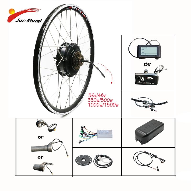 Kit de conversión de bicicleta eléctrica, rueda con Motor de 1500W 48V 500W 1000W, Kit de bicicleta eléctrica con motor central delantero/trasero de 350W 36V