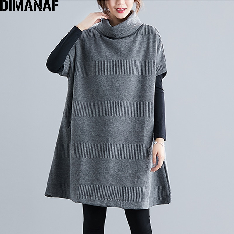 DIMANAF Winter Plus Size Women Sweatshirts Pullovers Female Tops Shirts Turtleneck Big Size Loose Casual Thick Knitted Clothing dimanaf plus size women dress vintgae long sleeve turtleneck winter flocking print floral female vestidos cotton thick loose