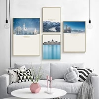 nordic wall art canvas painting snow white hill lake winter house grass posters prints pictures for living room home decoration