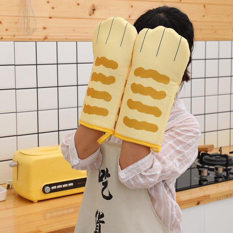Cute Cat Paws MITS horno 3D dibujos animados hornear aislamiento guantes largos de algodón resistente al calor guantes de cocina antideslizantes