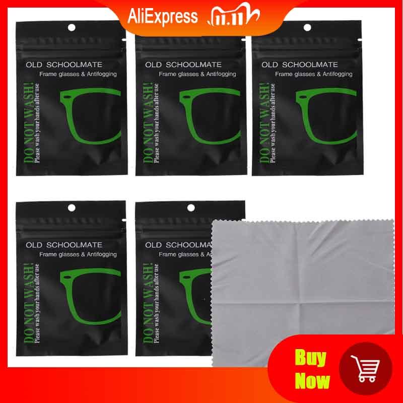 5Pcs Reusable Anti-Fog Wipes Glasses Pre-moistened Antifog Lens Cloth Defogger Eyeglass Wipe Prevent
