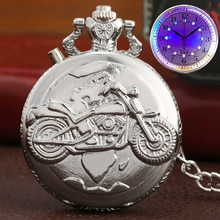 Silver Motorcycle Luminous LED Flash Motorbike MOTO Design Fashion Quartz Pocket Watch Carved Chain