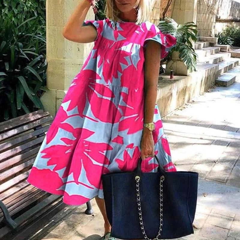 Vestido Midi suelto de verano para mujer, con estampado de flores, Color rosa y hojas de Maple, informal para la playa
