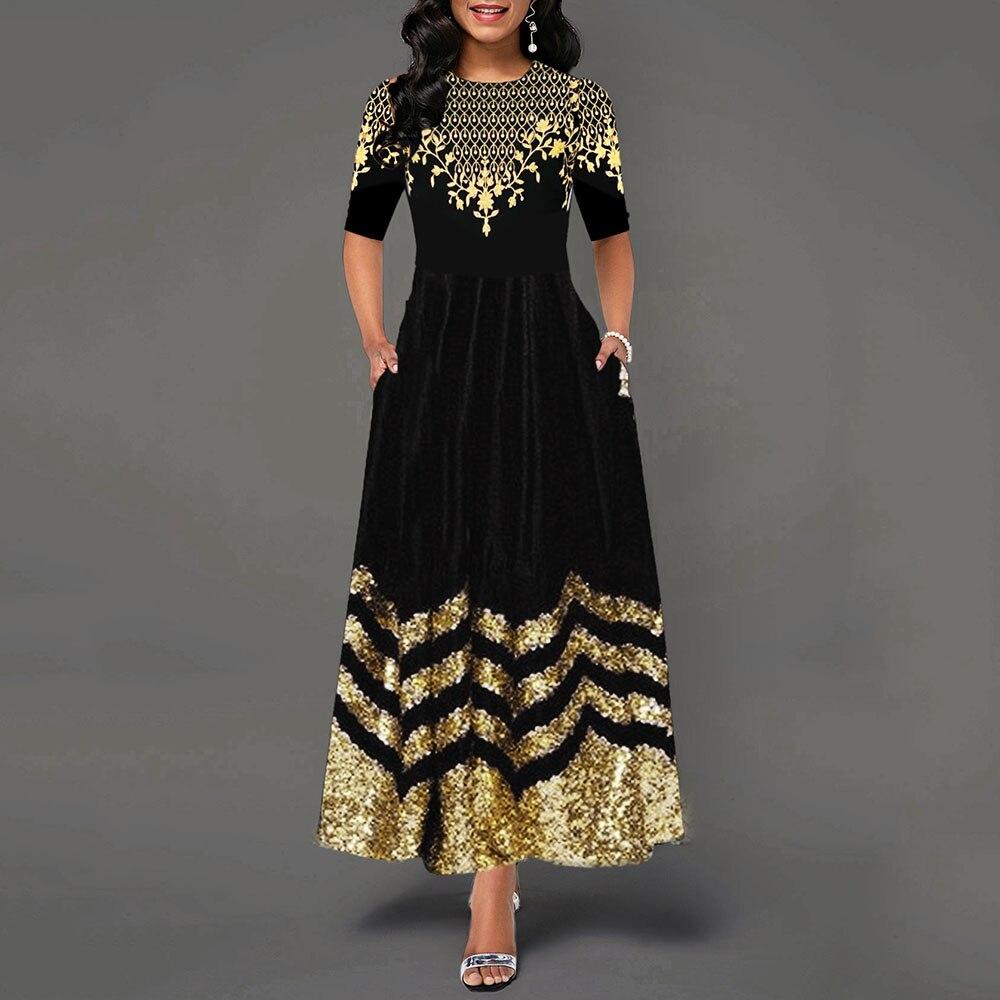 Women Elegant Black Pleated Dress Vintage Floral Printed A Line Pocket Office OL Party Sequins Long Dresses Robe Femme Plus Size