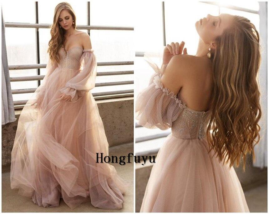 فستان زفاف وردي مغبر رائع 2021 بدون أكتاف وأكمام طويلة فساتين حفلات الأميرات مكشكشة تول على شكل حرف a فساتين سهرة رسمية