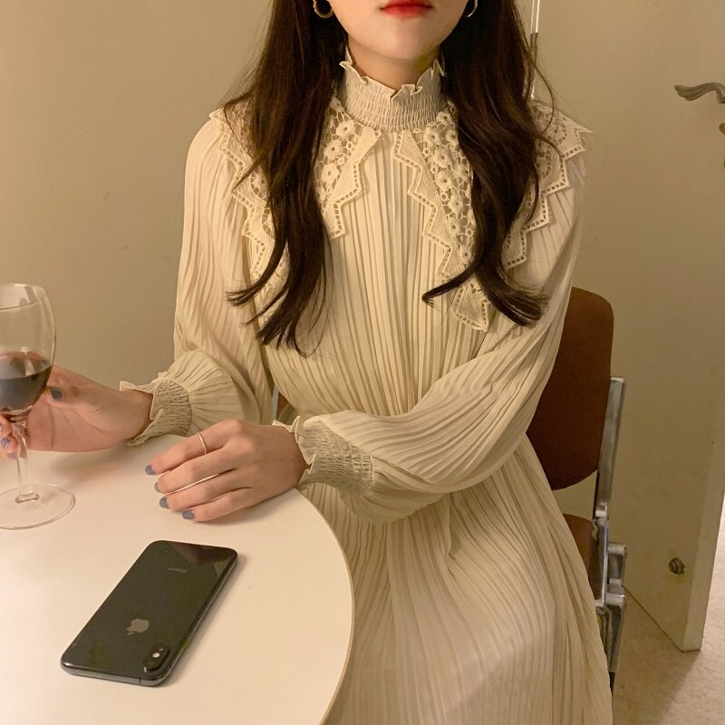 H43b8b730192b41c2a5511af4d3f8d3c1D - Spring / Autumn Lace Stand Collar Long Sleeves Pleated Midi Dress with Belt