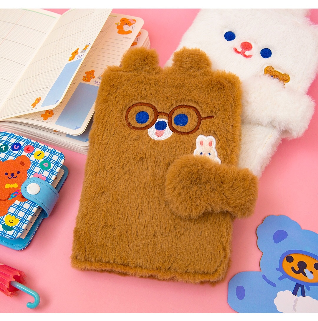 Milkjoy 90PCS Girls Diary Book Cute Bear Rabbit Student NoteBook Travel Planner Notepad Cover  Girls Journal Kids Gift rabbit nina faux leather cover journal diary cute notebook notepad girls planner stationery gift