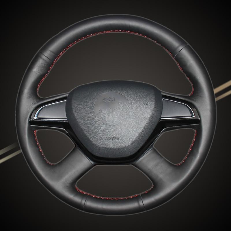 Car Braid On The Steering Wheel Cover for Skoda Octavia 2015 2016 Fabia 2014 Rapid 2013-2015 Superb 2013-2016 Yeti Auto Cover