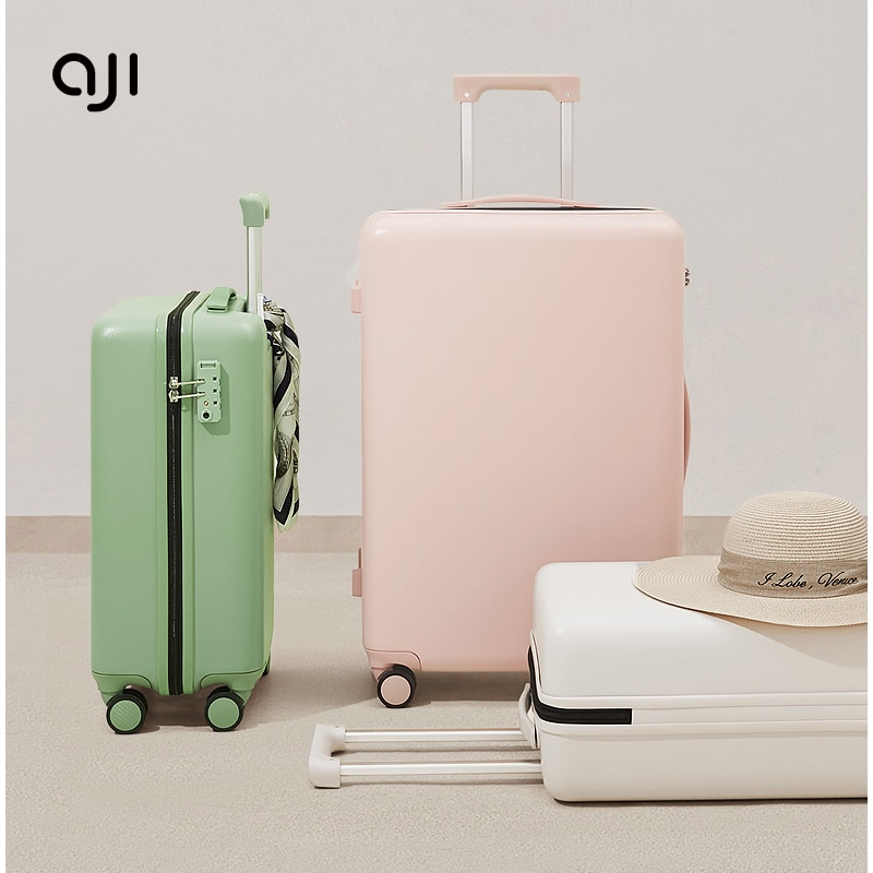 AJI Original Brand Designer Suitcase 100% PC Material Travel Rolling Luggage Check In Trolley Case 20 24 26 Inch
