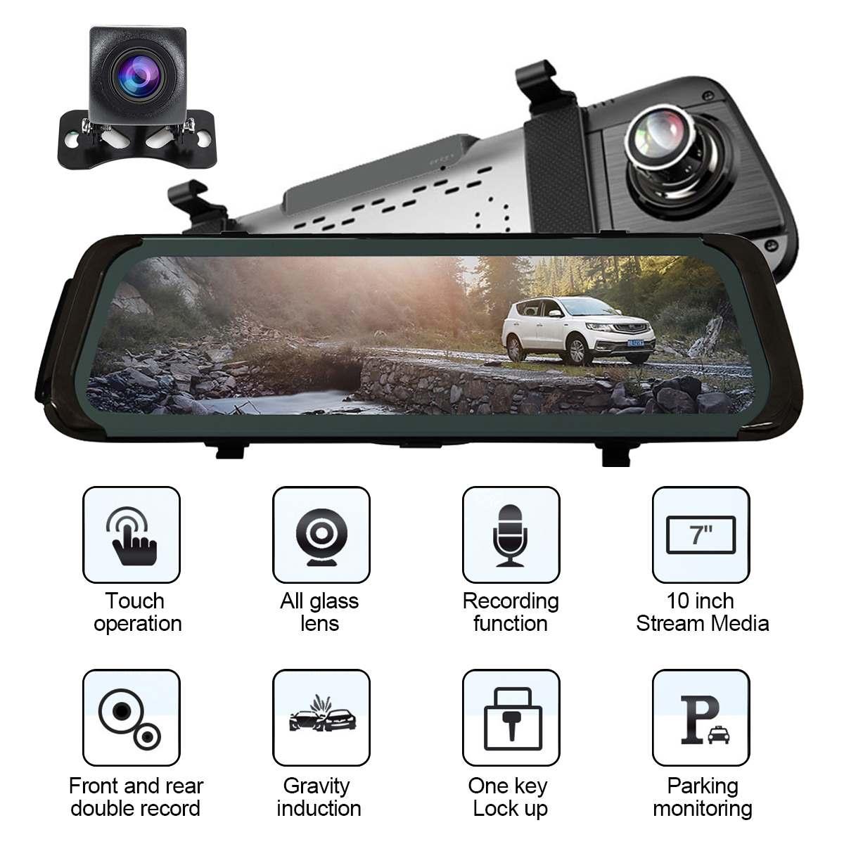 "10"" Touch Screen 1080P Car DVR Dash camera Dual Lens Auto Camera Video Recorder Rearview mirror 1080p Backup Car Camera"