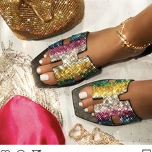 2021 Summer New Style Women  Fashion PU  Comfortable Flat Bottomed Square Diamond Sandals Leisure Be