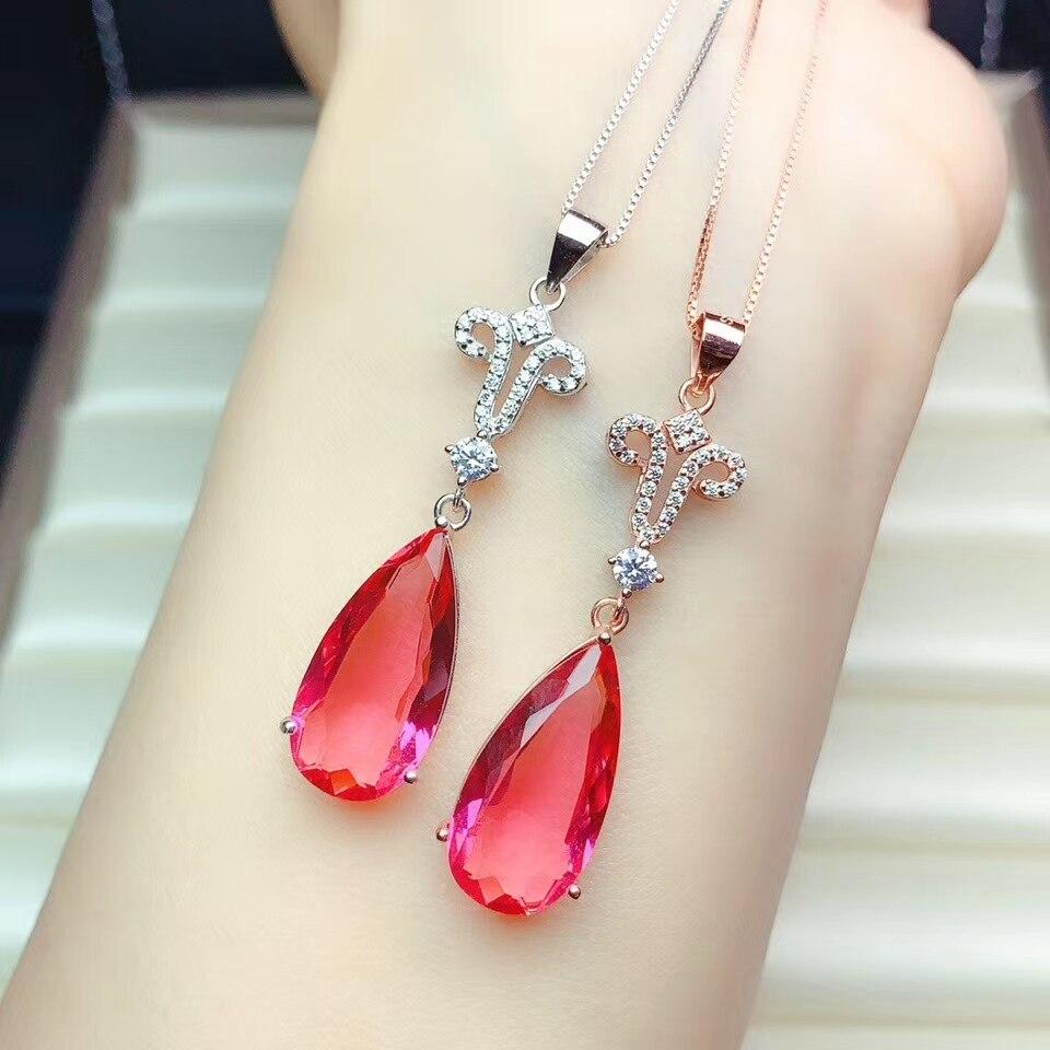Exquisita de gran tamaño de cristal rojo Collar para las mujeres joyería de plata 925 gema gota de agua fiesta regalo