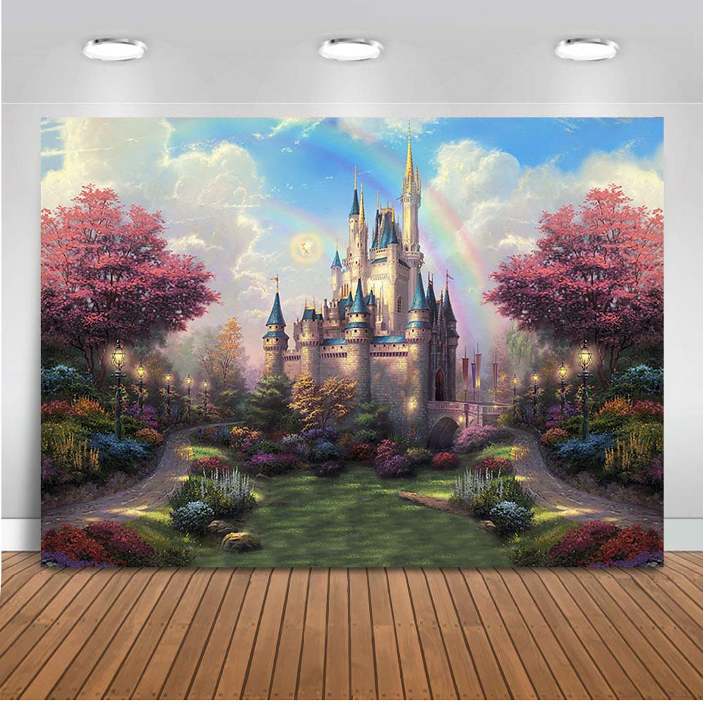 Castle backdrop for photography Fairy Tale View Background for photo studio Princess Birthday party decoration supplies photo
