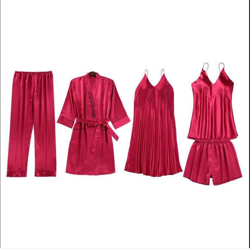 671b1-2Five-Piece منامة المرأة الصيف الجليد رقيقة الحرير الحمالة السراويل دعوى مثير الشرائط الملونة وسادة الصدر ثوب النوم المنزل